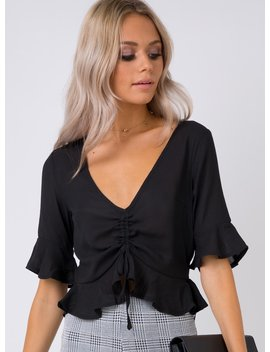 Good Feeling Ruched Top Black by Princess Polly