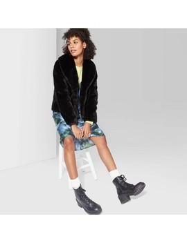 Women's Long Sleeve Short Faux Fur Coat   Wild Fable™ Black by Wild Fable