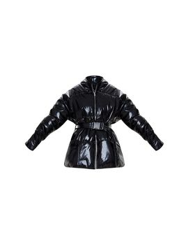 Black High Shine Hooded Midi Belted Puffer Jacket by Prettylittlething