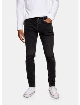 Washed Black Double Knee Rip Stretch Skinny Jeans by Topman