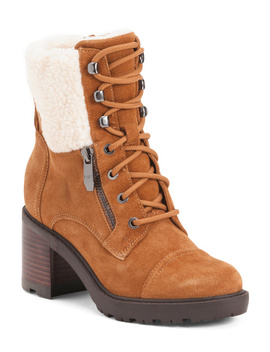 Sherpa Lined Lug Sole Suede Boots by Tj Maxx