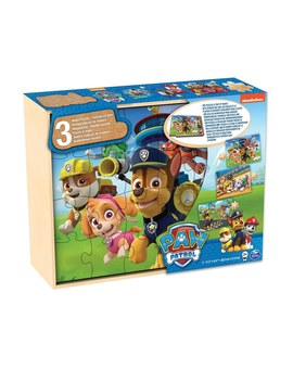 Paw Patrol Wood 3 Pack Puzzle In Wood Storage Tray by Smyths