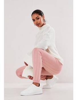 Tall Pink Rib Knitted Leggings by Missguided
