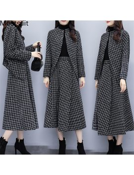 Autumn Winter Woolen Two Piece Sets Outfits Women Plus Size Long Sleeve Coat And Long Skirt Suits Ladies Casual Elegant Set 2019 by Ali Express.Com