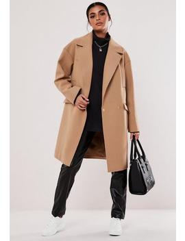 Camel Raw Edge Formal Coat by Missguided