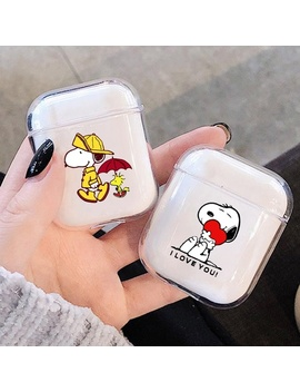 New Cute Cartoon Snoopy Pattern Transparent Hard Pc Protective Case Cover For Apple Airpods 1 /2 by Wish