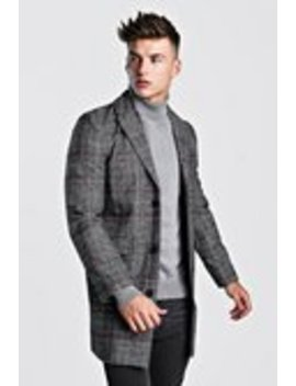 Check Wool Overcoat by Boohoo Man