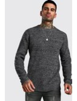 Regular Fit Crew Neck Fisherman Knitted Jumper by Boohoo Man