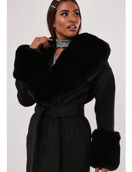 Tall Hayden Williams X Missguided Black Faux Fur Collar Cuff Coat by Missguided