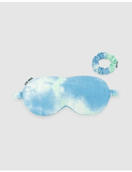 Blue Tie Dye Silk Eye Mask Set by Shhh Silk