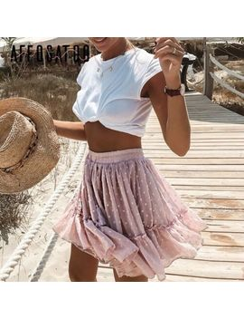 Affogatoo Casual Polka Dot Ruffle Summer Pink Skirt Women A Line High Waist by Berry Go