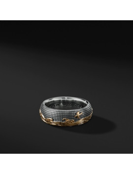 Waves Band In Sterling Silver And 18 K Gold With Black Diamonds by David Yurman