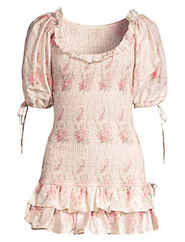 Violet Rose Print Puff Sleeve Mini Dress by Love Shack Fancy