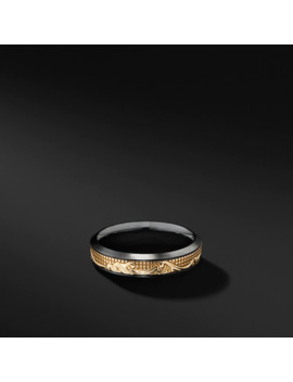 Waves Band Ring In Black Titanium With 18 K Yellow Gold by David Yurman