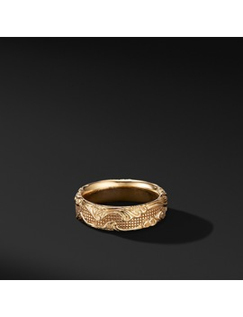 Waves Band Ring In 18 K Yellow Gold by David Yurman