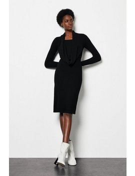 Shawl Neck Knitted Rib Midi Dress Shawl Neck Knitted Rib Midi Dress by Karen Millen