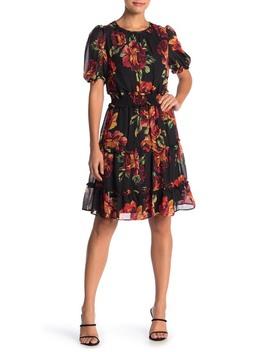 Floral Print Chiffron Ruffle Hem Dress by Julia Jordan