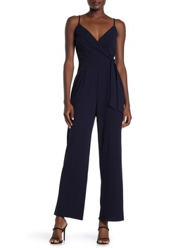 Surplice V Neck Solid Jumpsuit by Row A