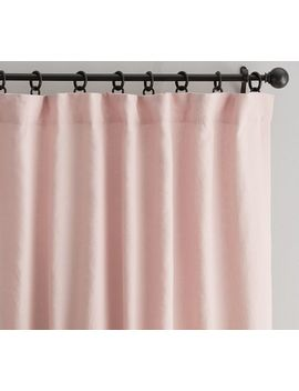 """Classic Belgian Flax Linen Curtain, Cotton Lining, 50 X 84"""", Soft Rose by Pottery Barn"""