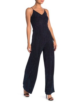 Metallic Stripe V Neck Jumpsuit by Jump