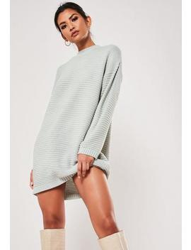 Grey High Neck Knitted Ribbed Dress by Missguided