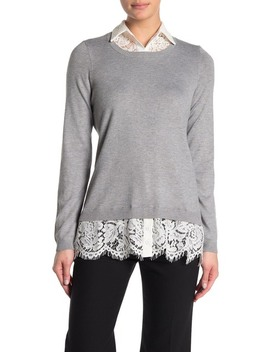 Lace Combo Twofer Sweater by Adrianna Papell