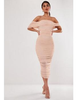 Nude Mesh Ruched Bardot Midi Dress by Missguided