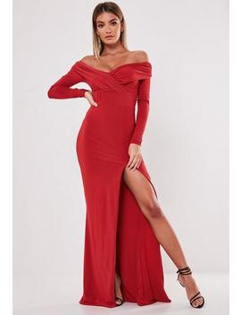 Red Bardot Slinky Maxi Dress by Missguided