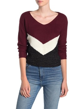 Chevron Wide V Neck Sweater by Love By Design