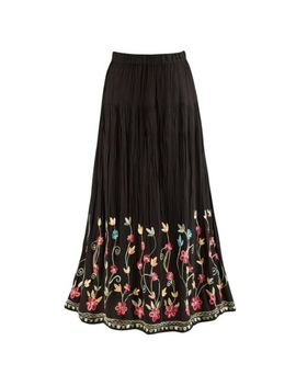 Catalog Classics Women's Floral Embroidered Flowering Vines Maxi Skirt   Black by Catalog Classics