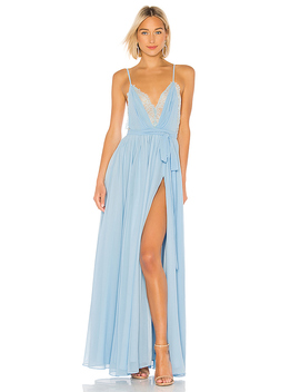 X Revolve Justin Gown In Light Blue by Michael Costello