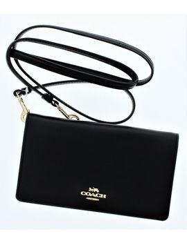 Coach 31867 Smooth Leather Black Slim Phone Crossbody Wallet Bag by Coach