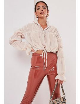 Stone Sheer Tiered Long Sleeve Poets Blouse by Missguided