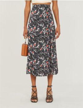 Austin Floral Print Crepe Midi Skirt by Topshop