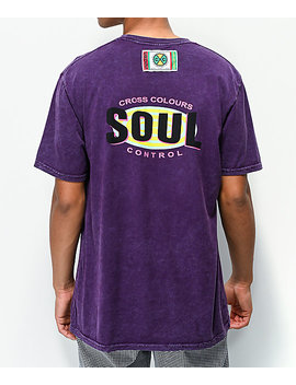 Cross Colours Soul Purple Mineral Wash Knit T Shirt by Cross Colours