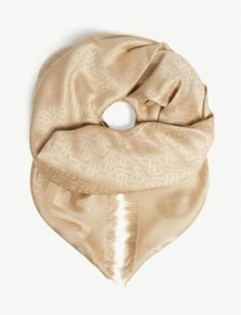 Monogram Silk And Wool Blend Scarf by Burberry