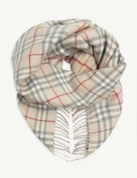 Check Wool Scarf by Burberry