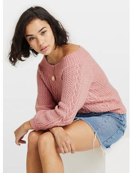 Petite Pink Bardot Knitted Jumper by Miss Selfridge