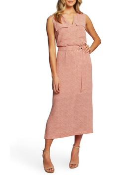 Sundried Tiles Tie Waist Mid Dress by Chaus