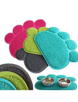 Wedlies Dog Puppy Paw Shape Placemat Pet Cat Dish Bowl Feeding Food Pvc Mat Wipe Clean by Wedlies
