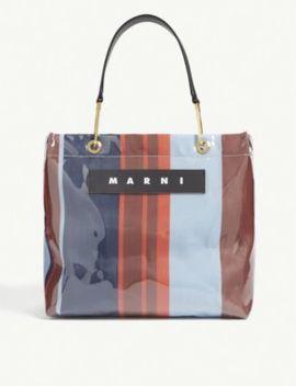 Glossy Striped Medium Top Handle Tote Bag by Marni