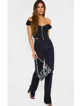 Tall Black Split Hem Jeans  by Prettylittlething