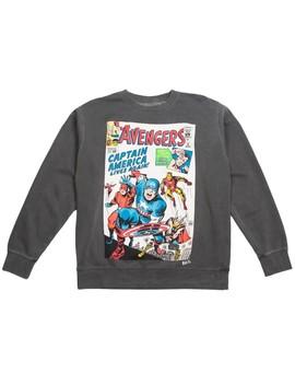 Bait X Marvel Men Avengers Live Again Crewneck Sweater (Black / Pigment Dyed) by Bait