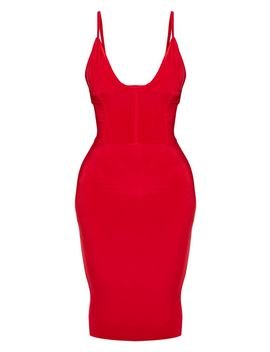 Shape Red Slinky Panelled Midi Dress  by Prettylittlething