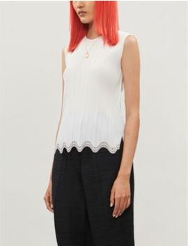 Scalloped Hem Pleated Crepe Top by Pleats Please Issey Miyake