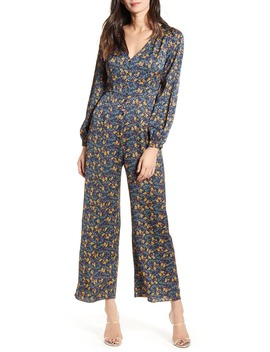 Print Button Up Jumpsuit by All In Favor