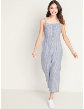 Square Neck Linen Blend Striped Cami Jumpsuit For Women by Old Navy
