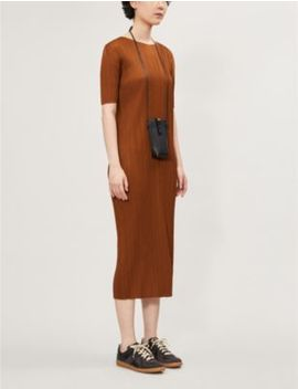 Pleated Short Sleeved Woven Dress by Pleats Please Issey Miyake