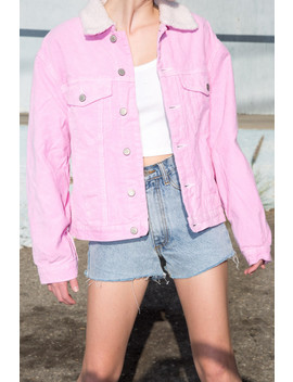 Kaylee Fur Corduroy Jacket by Brandy Melville