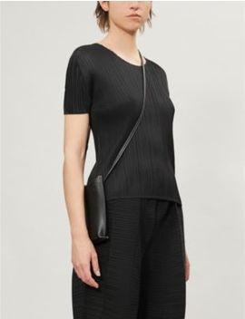 Basics Round Neck Satin Pleated T Shirt by Pleats Please Issey Miyake